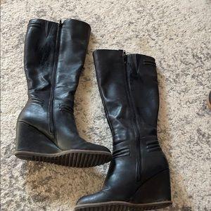 Women's Tall Black Wedge Boot